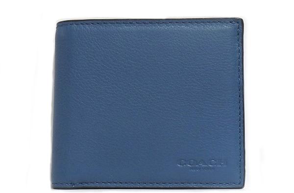 コーチ メンズ 二つ折り財布F75003青