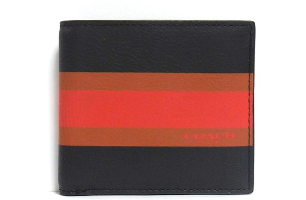 コーチ メンズ 二つ折り財布F75137紺 正面
