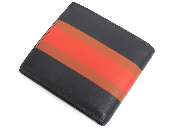 コーチ メンズ 二つ折り財布F75137紺 背面