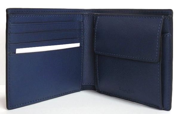 コーチ メンズ 二つ折り財布F75394青 カード入れ