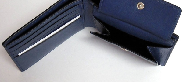 コーチ メンズ 二つ折り財布F75394青 小銭入れ