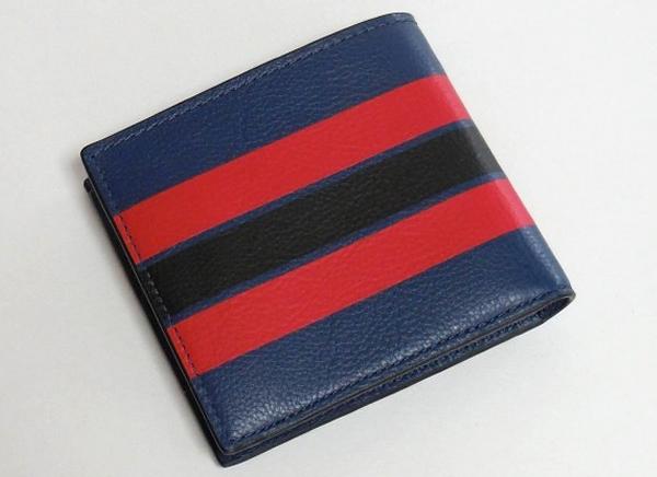 コーチ メンズ 二つ折り財布F75394青 背面